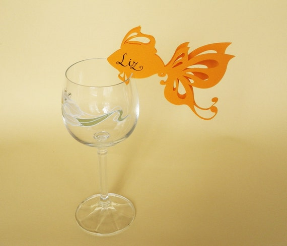50 Place Cards, Wine Glass Decor,  Gold Fish, Original calligraphy, Cutout, Scrapbook, Papercut by Mama Tita