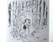 Narnia Notes - Set of 4 Cards - Mr Tumnus Walks with Lucy