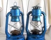 Vintage Kerosene Lantern, Electric Blue