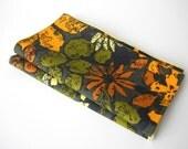 Vintage Handmade Linen Table Napkins, 70's Florals, set of 2