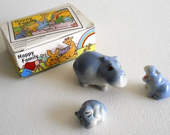 vintage Wade Happy Family Hippo porcelain figurines