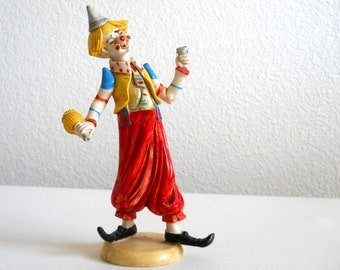 vintage 1980's clown figurine, resin