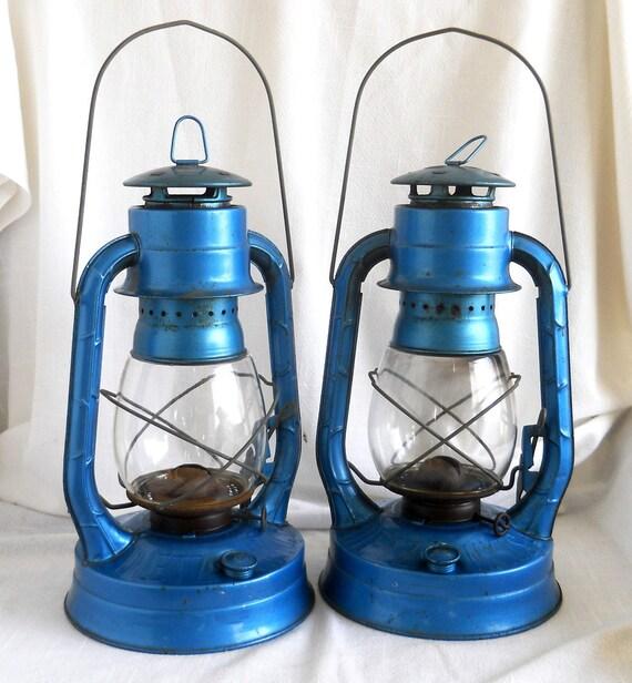 Vintage Kerosene Lantern, Electric Blue