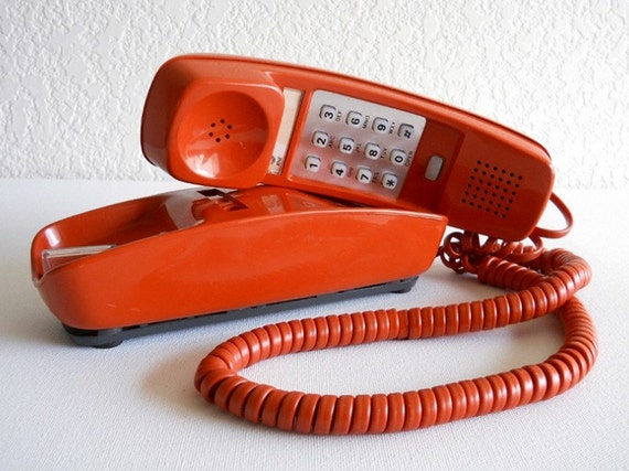 vintage telephone - Giants orange corded trimline