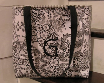 Medium Monogrammed Black Toile Oilcloth Tote Bag / Beach Bag / Waterproof Bag Christmas Gift Stocking Stuffer Teen Gift New Mom Gift