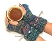 Knit Fingerless Gloves Teal/ Pink/ Orange With Silver Ribbon