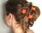 Orange Flower Hair Pins, Wedding Hairpins, Bridal Flower Hair Accessories