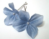 Bridal Hair Flower Blue, Wedding Hair Pins, Prom Flower Accessories