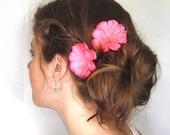 Pink Flower Hair Pins, Prom Bridal Flower Hair Accessories
