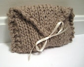 Knit Clutch Bag Taupe, Bridesmaid Purse, Prom Knit