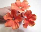 Coral Flower Hair Pins, Wedding Hairpins, Prom Flower Accessories