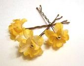 Yellow Flower Hair Pins, Wedding Hairpins, Bridal Flower Hair Accessories