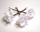 White Pearl Wedding Flower Hair Pins, Bridal Flower Hair Accessories