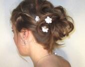 White Flower Hair Pins, Wedding Hairpins, Bridal Flower Hair Accessories