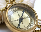 Brass Compass Necklace with Brass or Gold Plated Ball Chain
