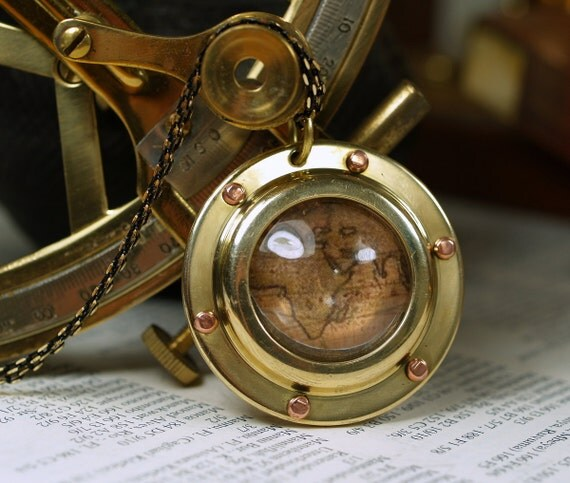Steampunk Nautical Golden Brass Porthole Necklace with Antique World Map
