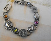 Vintage Steampunk Style Hearts, Roses and Ladybug Oxidized Sterling Silver Bracelet