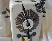 Vintage Steampunk Shabby Chic Clock OOAK