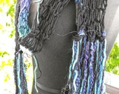 Fun and Funky Black Tones Long Hand Knitted Scarf  OOAK
