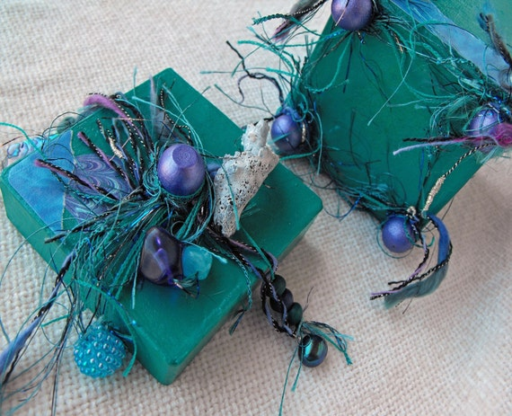 OOAK Turquoise Color of the Sea and Collaged Paper Mache Box