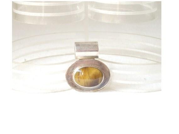 Vintage Silver 925 Tigers Eye Mexican Pendant