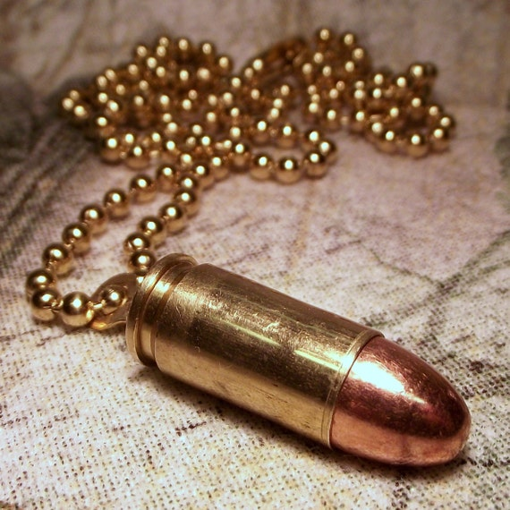 9mm Real bullet and brass necklace upcycled cool gift for him her biker steampunk