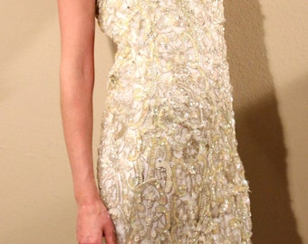 AMAZING Glittery Ivory Sequins Beaded Rhinestoned Formal Gown FREE SHIPPING