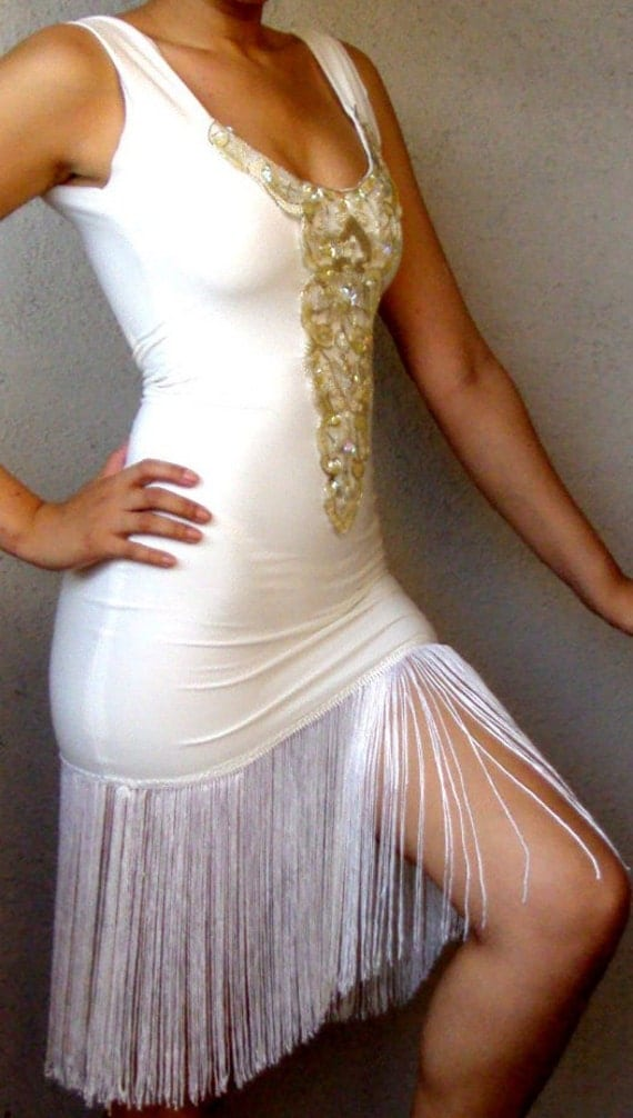 1920's Sexy White Pearl/Sequins Fringe Flapper Dress