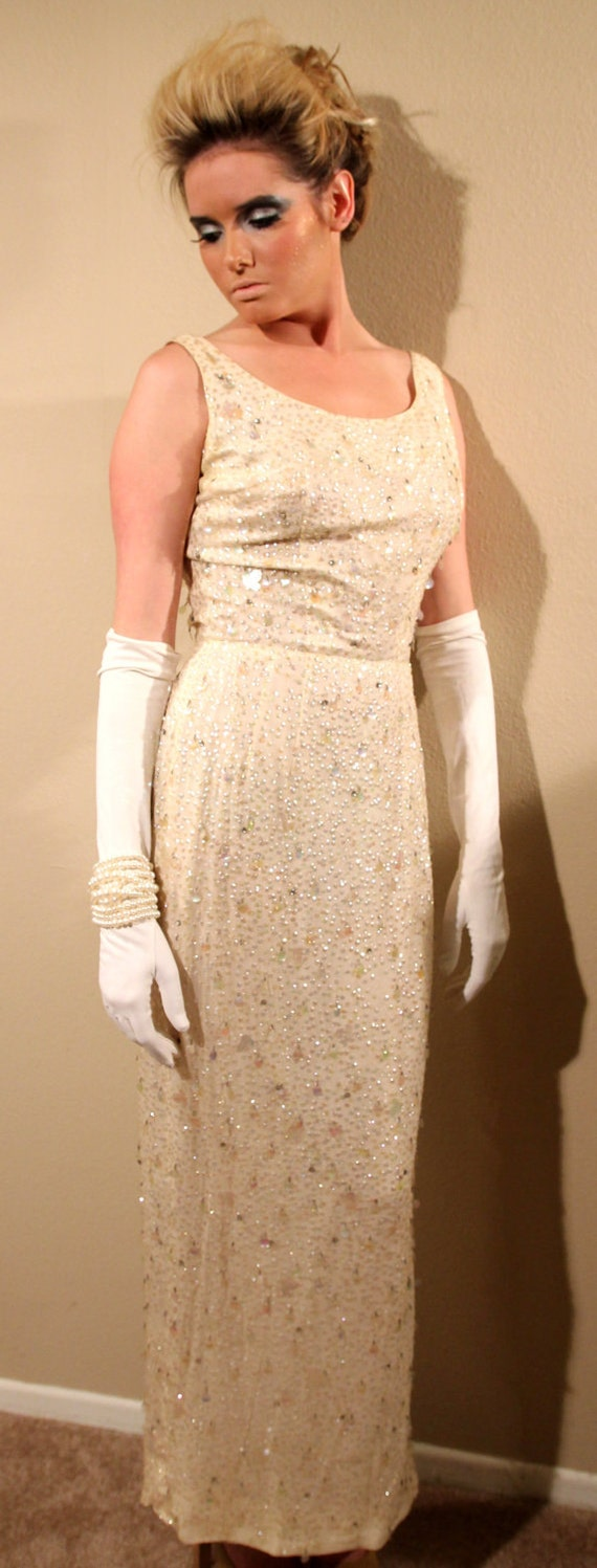 Beautiful Cream Colored Vintage Evening Dress 60's
