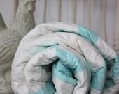 SALE SALE SALE - Double Irish Chain Quilt - Twin Size - Aqua and White