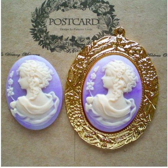 2 pcs marble finish lavender curved hair lady cameos-highly recommended-FZ604