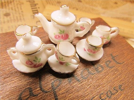 MINIATURE-so fun and exquisite-cherry printed mini teapot charms