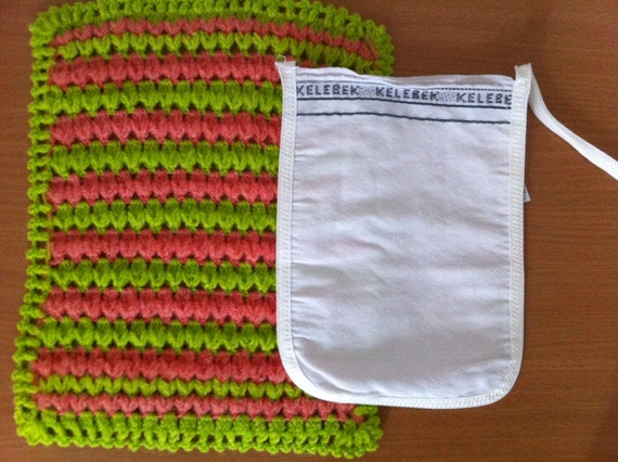 Green and Peach Turkish Washcloth with FREE exfoliating glove