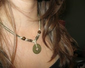 Gold Chinese Coin and Bead String Necklace