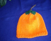 Pumpkin Hat in Bright Orange for Boys with Green Leaves Attached in 100% Cotton Yarn