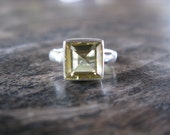 Welcome Spring With a Splash of Color - Gorgeous Princess Cut Lemon Citrine Ring in Sterling Silver