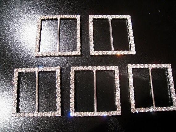 Large Square rhinestone buckle set of 5