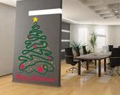 Merry Christmas Tree Wall Decal