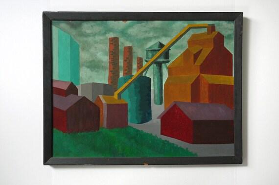 WPA Era Industrial Landscape Painting: reserved 4 bernalrunner