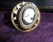 Steampunk Elegance Cameo locket ring