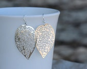 50% OFF CLEARANCE Sale, Silver Leaf Earrings, Hypo-Allergenic, Nickel-Free Hooks with Silver-Plated Filigree Leaves
