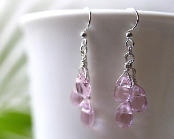 Pink Teardrop Earrings Chandeliers with Soft Pink Glass Teardrops on Hypo-Allergenic, Nickel-Free Ear-Wires