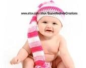 Pixie Hat Dark Pink, Light Pink, White