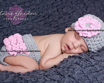 Rylie Chunky Beanie and Diaper Cover set Grey and Pink