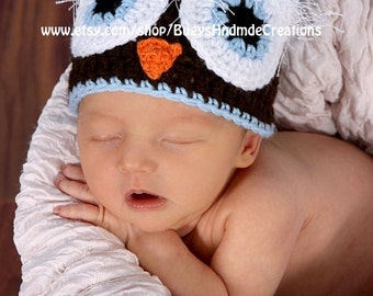 Blue and Brown Wide Awake Owl Hat
