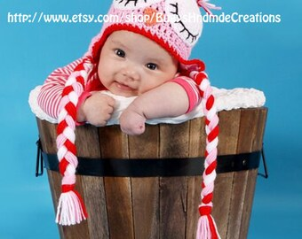 Crochet Sleepy Owl Hat with Earflaps Pink, Red and White