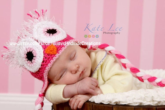 READY TO SHIP Newborn Adorable Girls Owl Hat with Earflaps Pink, Light Pink and White