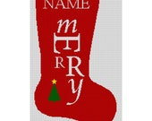 Needlepoint Christmas Stocking Canvas - Merry