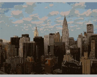 Manhattan Skyline Needlepoint Canvas