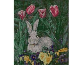 Bunny Rabbit in Flowers Needlepoint Canvas